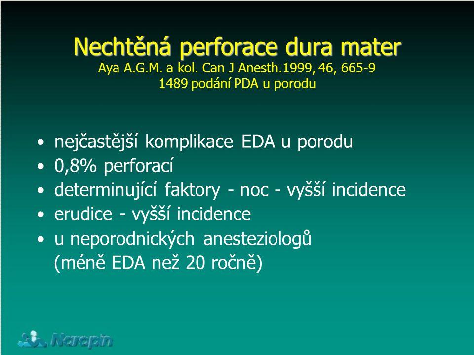 Nechtěná perforace dura mater Nechtěná perforace dura mater Aya A.G.M. a kol. Can J Anesth.1999, 46, 665-9 1489 podání PDA u porodu nejčastější kompli