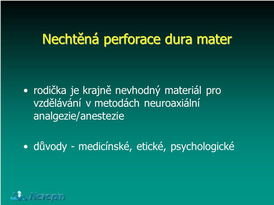 rodička je krajně nevhodný materiál pro vzdělávání v metodách neuroaxiální analgezie/anestezie důvody - medicínské, etické, psychologické Nechtěná per