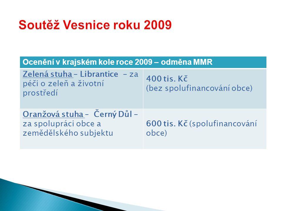 Ocenění v krajském kole roce 2009 – odměna MMR Zelená stuha – Librantice - za péči o zeleň a životní prostředí 400 tis.