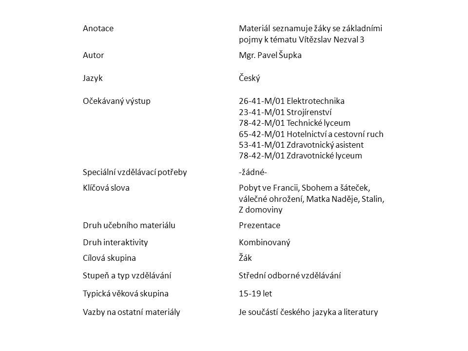 AnotaceMateriál seznamuje žáky se základními pojmy k tématu Vítězslav Nezval 3 AutorMgr.