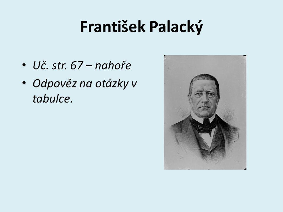 František Palacký Historik Organizoval společenský i vědecký život českých vlastenců Spolupůsobil při zakládání Národního muzea