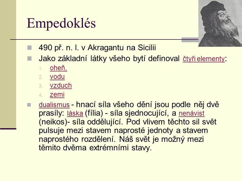 Empedoklés 490 př. n. l. v Akragantu na Sicilii Jako základní látky všeho bytí definoval čtyři elementy : 1. oheň, 2. vodu 3. vzduch 4. zemi dualismus