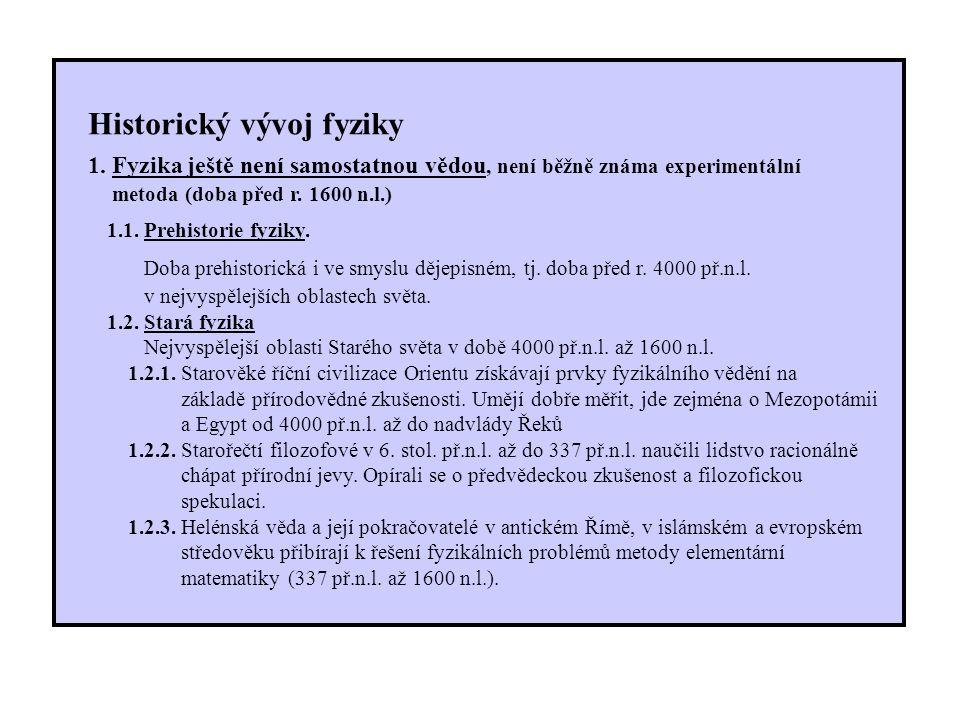 Historický vývoj fyziky 1.
