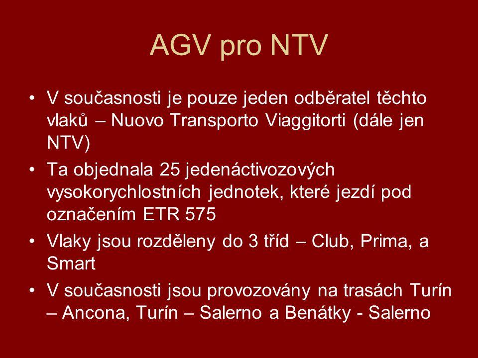 AGV pro NTV V současnosti je pouze jeden odběratel těchto vlaků – Nuovo Transporto Viaggitorti (dále jen NTV) Ta objednala 25 jedenáctivozových vysokorychlostních jednotek, které jezdí pod označením ETR 575 Vlaky jsou rozděleny do 3 tříd – Club, Prima, a Smart V současnosti jsou provozovány na trasách Turín – Ancona, Turín – Salerno a Benátky - Salerno