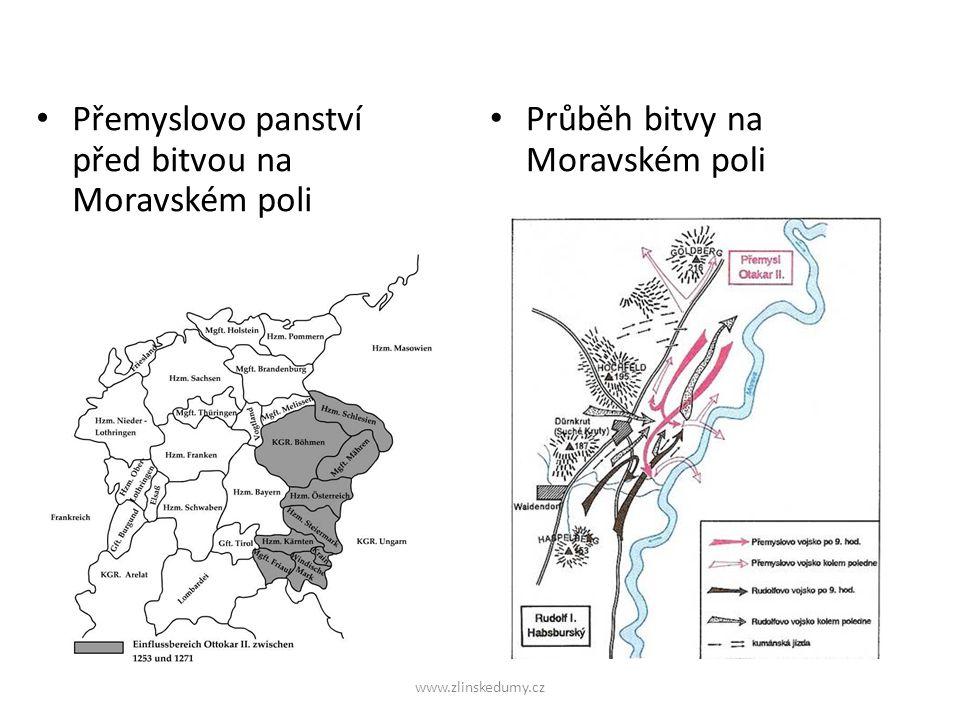 Přemyslovo panství před bitvou na Moravském poli Průběh bitvy na Moravském poli www.zlinskedumy.cz