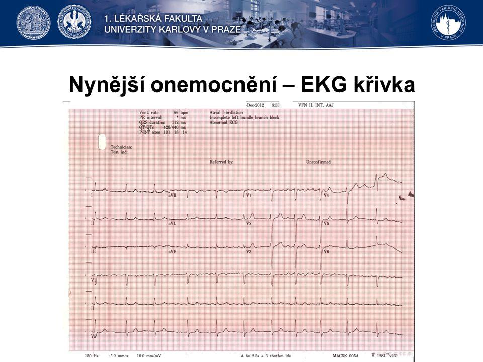 Průběh elektrické kardioverze II Po krátké srdeční masáži došlo k obnovení účinné srdeční akce Frekvence periferního pulzu byla kolem 35/min.