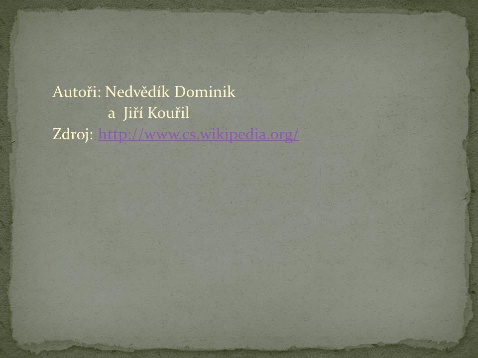 Autoři: Nedvědík Dominik a Jiří Kouřil Zdroj: http://www.cs.wikipedia.org/http://www.cs.wikipedia.org/