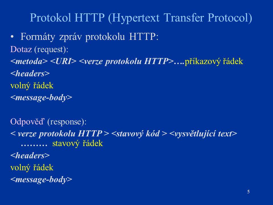 5 Protokol HTTP (Hypertext Transfer Protocol) Formáty zpráv protokolu HTTP: Dotaz (request): ….příkazový řádek volný řádek Odpověď (response): ……… stavový řádek volný řádek