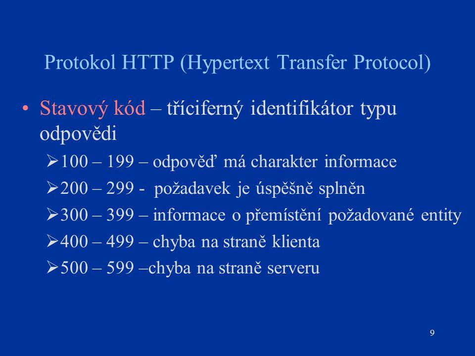 9 Stavový kód – tříciferný identifikátor typu odpovědi  100 – 199 – odpověď má charakter informace  200 – 299 - požadavek je úspěšně splněn  300 – 399 – informace o přemístění požadované entity  400 – 499 – chyba na straně klienta  500 – 599 –chyba na straně serveru