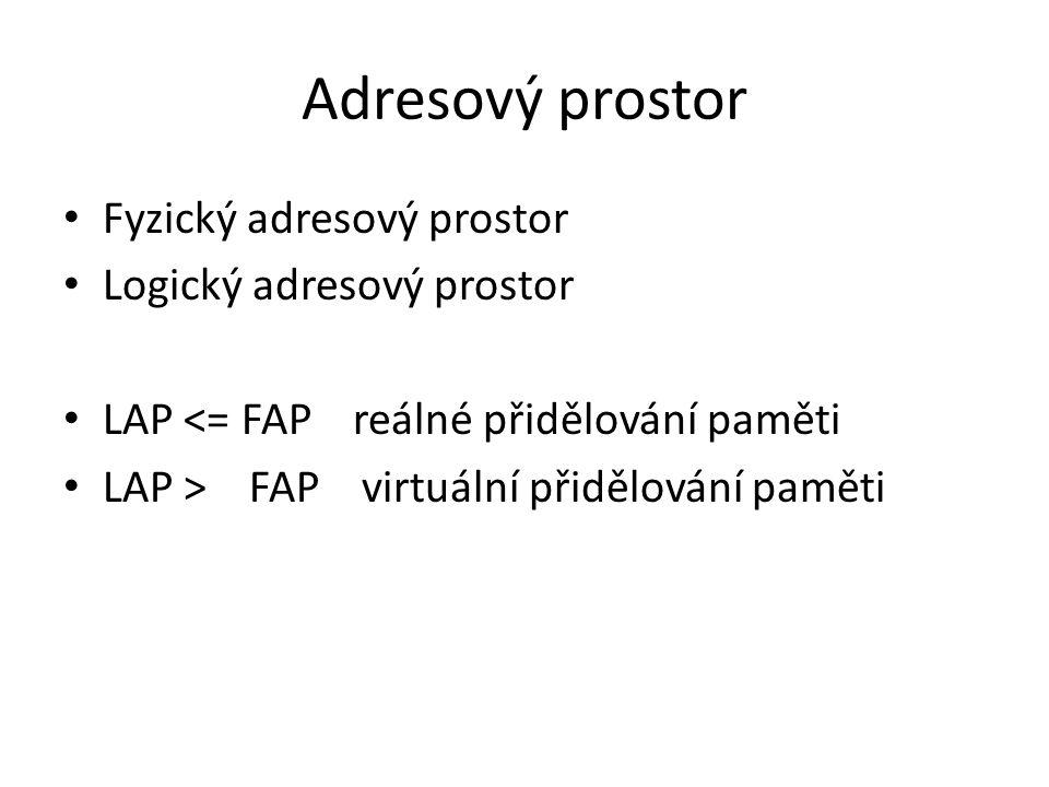Adresový prostor Fyzický adresový prostor Logický adresový prostor LAP <= FAP reálné přidělování paměti LAP > FAP virtuální přidělování paměti