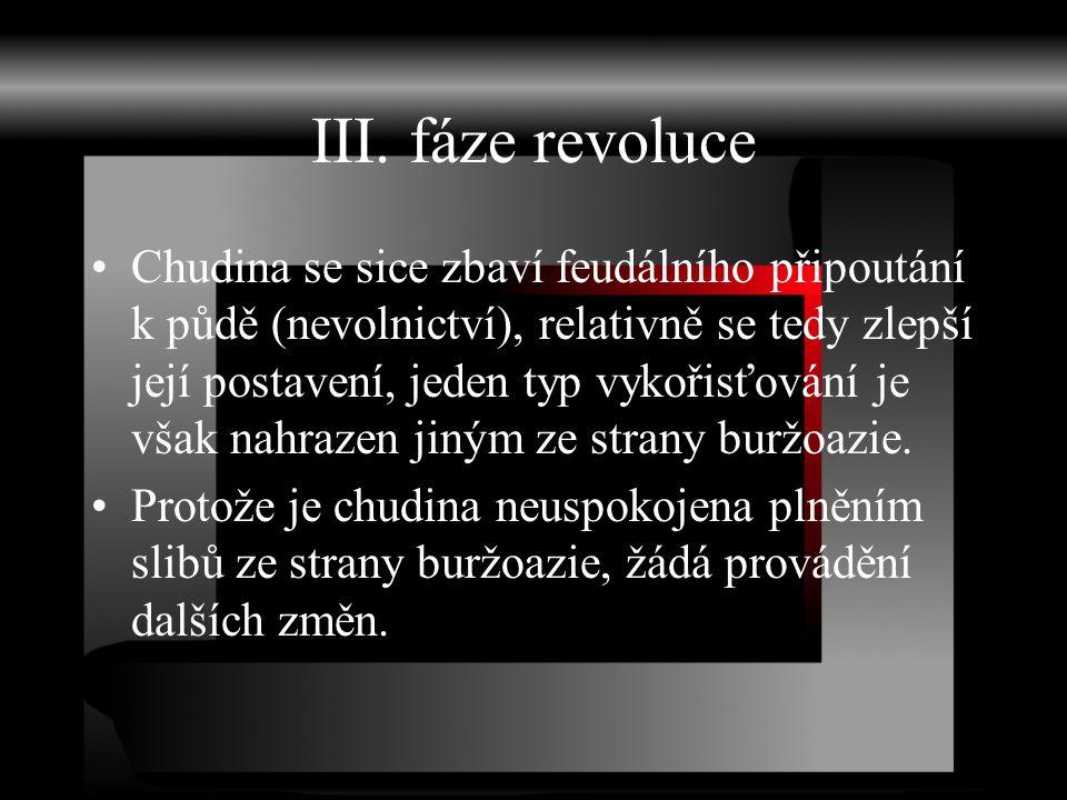 III. fáze revoluce Chudina se sice zbaví feudálního připoutání k půdě (nevolnictví), relativně se tedy zlepší její postavení, jeden typ vykořisťování