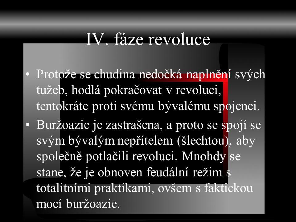 IV. fáze revoluce Protože se chudina nedočká naplnění svých tužeb, hodlá pokračovat v revoluci, tentokráte proti svému bývalému spojenci. Buržoazie je