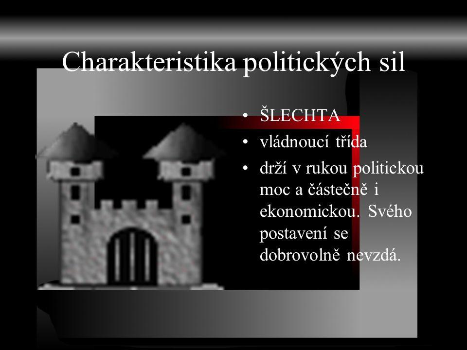 Charakteristika politických sil ŠLECHTA vládnoucí třída drží v rukou politickou moc a částečně i ekonomickou. Svého postavení se dobrovolně nevzdá.
