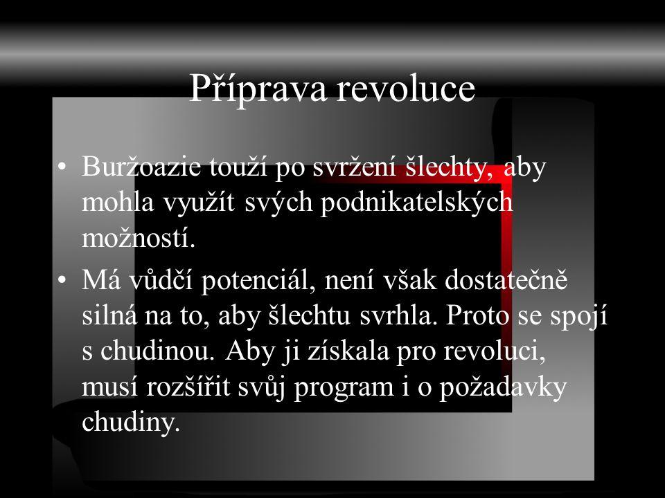 Příprava revoluce Buržoazie touží po svržení šlechty, aby mohla využít svých podnikatelských možností. Má vůdčí potenciál, není však dostatečně silná