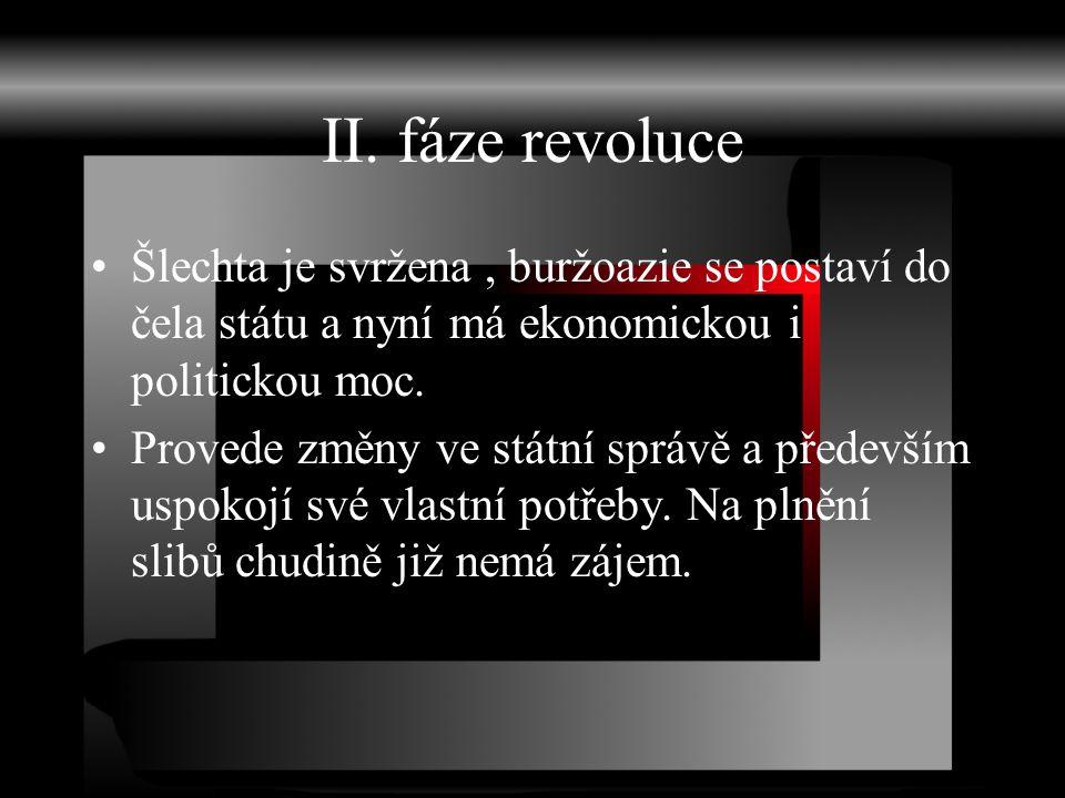 II. fáze revoluce Šlechta je svržena, buržoazie se postaví do čela státu a nyní má ekonomickou i politickou moc. Provede změny ve státní správě a před