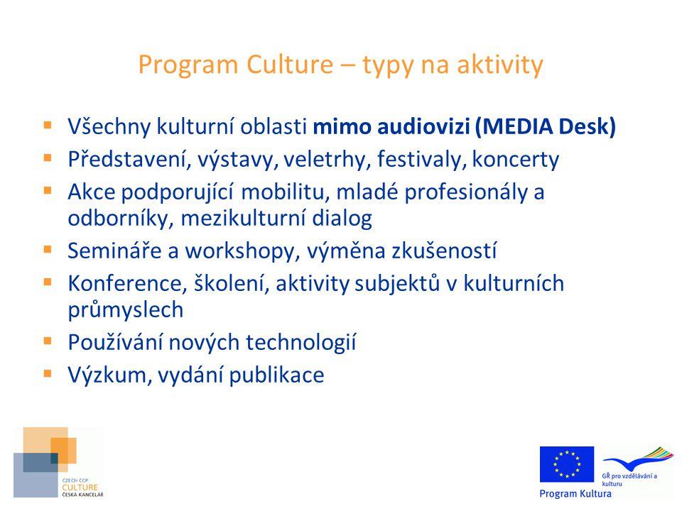 Program Culture – typy na aktivity  Všechny kulturní oblasti mimo audiovizi (MEDIA Desk)  Představení, výstavy, veletrhy, festivaly, koncerty  Akce podporující mobilitu, mladé profesionály a odborníky, mezikulturní dialog  Semináře a workshopy, výměna zkušeností  Konference, školení, aktivity subjektů v kulturních průmyslech  Používání nových technologií  Výzkum, vydání publikace