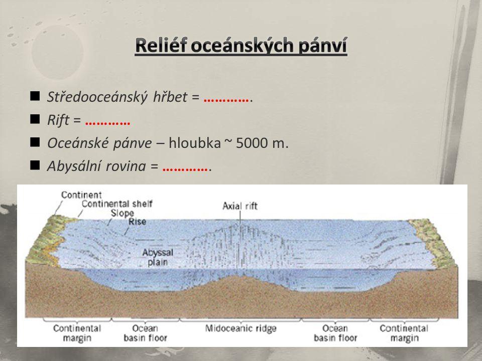 Středooceánský hřbet = …………. Rift = ………… Oceánské pánve – hloubka ~ 5000 m. Abysální rovina = ………….