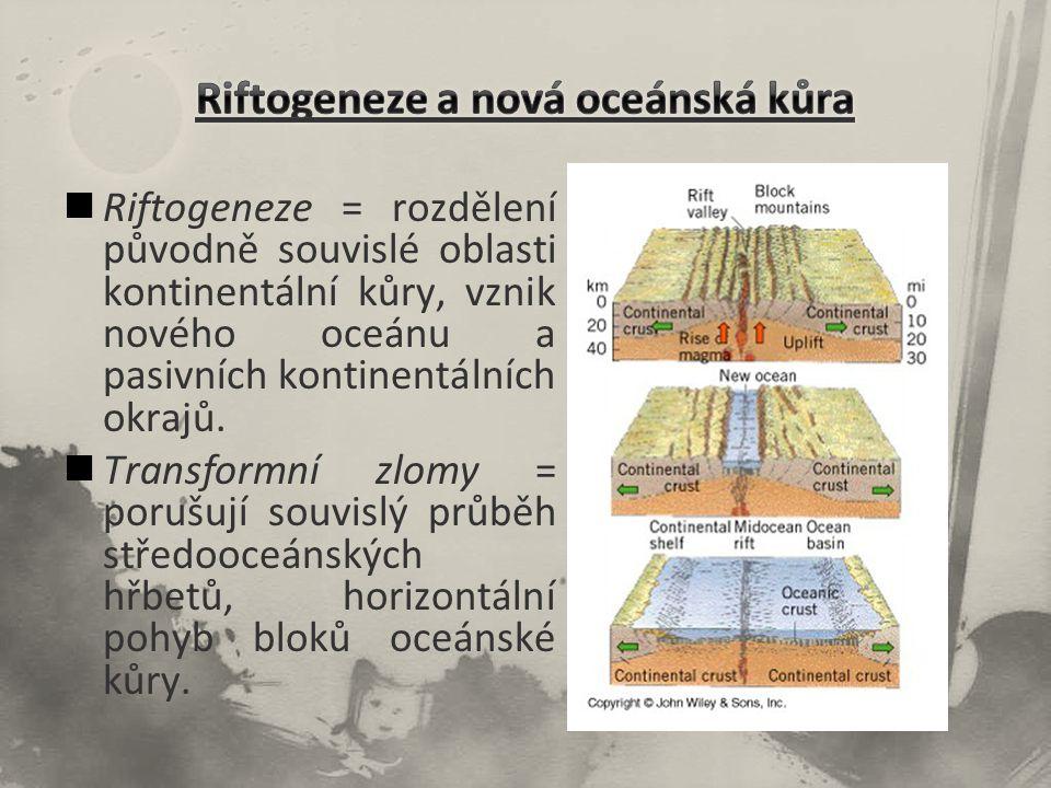 Riftogeneze = rozdělení původně souvislé oblasti kontinentální kůry, vznik nového oceánu a pasivních kontinentálních okrajů. Transformní zlomy = poruš