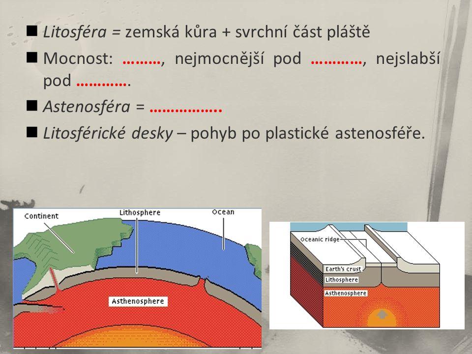 Litosféra = zemská kůra + svrchní část pláště Mocnost: ………, nejmocnější pod …………, nejslabší pod …………. Astenosféra = …………….. Litosférické desky – pohyb