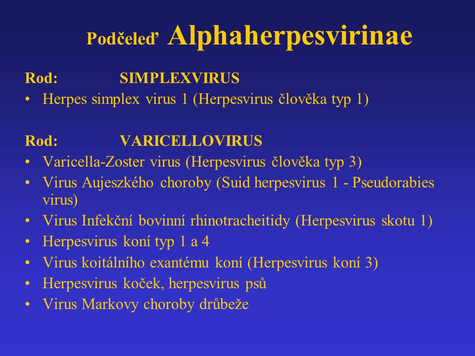 Podčeleď Alphaherpesvirinae Rod:SIMPLEXVIRUS Herpes simplex virus 1 (Herpesvirus člověka typ 1) Rod:VARICELLOVIRUS Varicella-Zoster virus (Herpesvirus