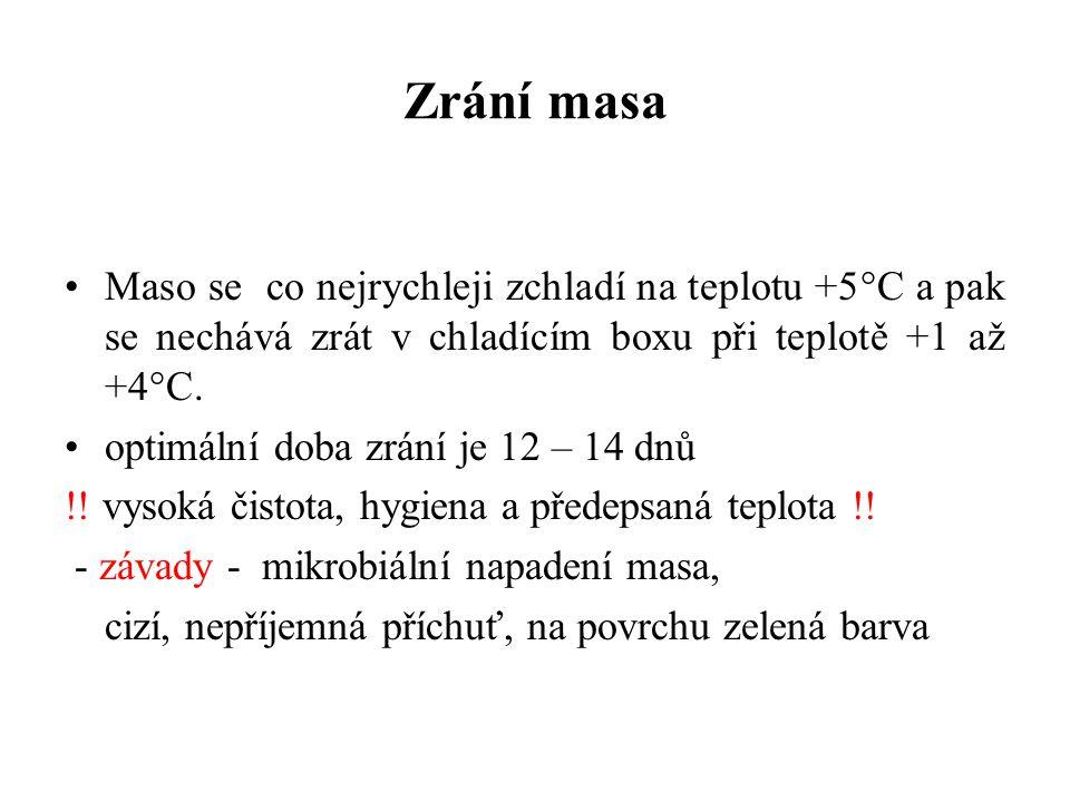 Maso se co nejrychleji zchladí na teplotu +5°C a pak se nechává zrát v chladícím boxu při teplotě +1 až +4°C. optimální doba zrání je 12 – 14 dnů !! v