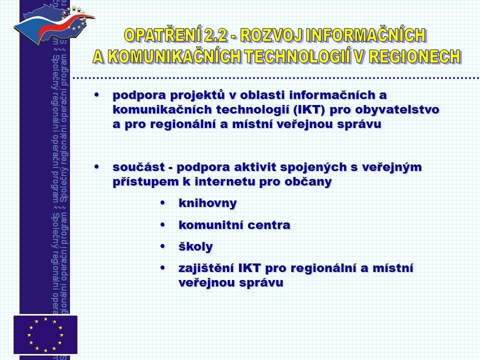 podpora projektů v oblasti informačních a komunikačních technologií (IKT) pro obyvatelstvo a pro regionální a místní veřejnou správupodpora projektů v oblasti informačních a komunikačních technologií (IKT) pro obyvatelstvo a pro regionální a místní veřejnou správu součást - podpora aktivit spojených s veřejným přístupem k internetu pro občanysoučást - podpora aktivit spojených s veřejným přístupem k internetu pro občany knihovnyknihovny komunitní centrakomunitní centra školyškoly zajištění IKT pro regionální a místní veřejnou správuzajištění IKT pro regionální a místní veřejnou správu