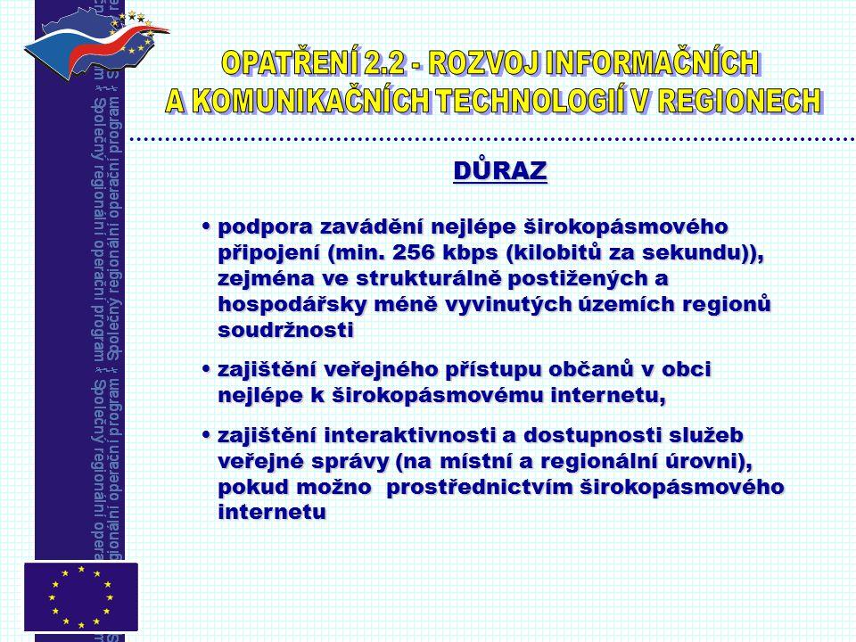 UPOZORNĚNÍ Projektem musí být vytvořeno místo s veřejně přístupným internetem (PIAP nebo IC ).