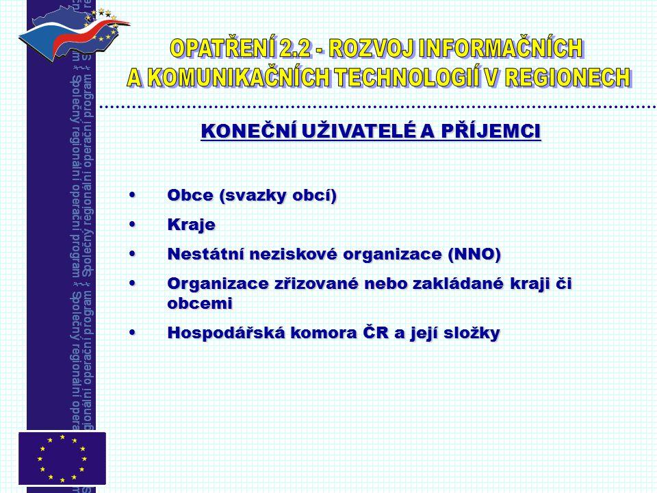 PODPORA EU (ERDF) 75% uznatelných nákladů ČR (MMR,obec,kraj)25% uznatelných nákladů