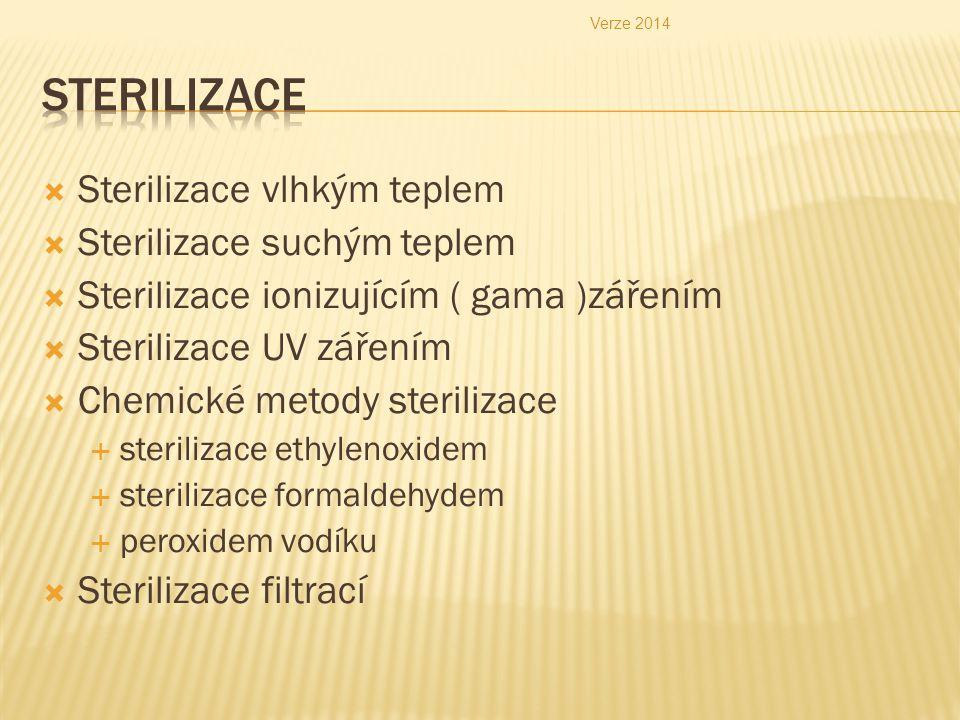  Sterilizace vlhkým teplem  Sterilizace suchým teplem  Sterilizace ionizujícím ( gama )zářením  Sterilizace UV zářením  Chemické metody steriliza