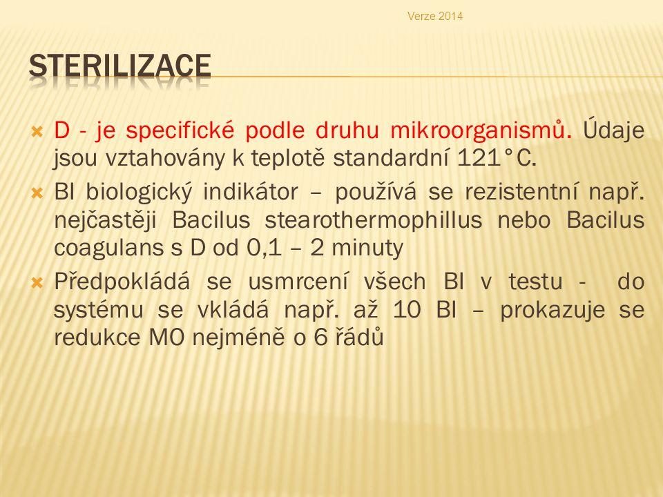  D - je specifické podle druhu mikroorganismů. Údaje jsou vztahovány k teplotě standardní 121°C.  BI biologický indikátor – používá se rezistentní n