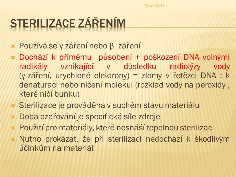  Používá se γ záření nebo β záření  Dochází k přímému působení + poškození DNA volnými radikály vznikající v důsledku radiolýzy vody (γ-záření, uryc