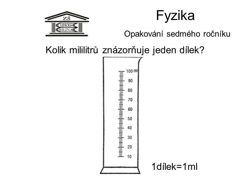 Fyzika Opakování sedmého ročníku 1dílek=1ml Kolik mililitrů znázorňuje jeden dílek?