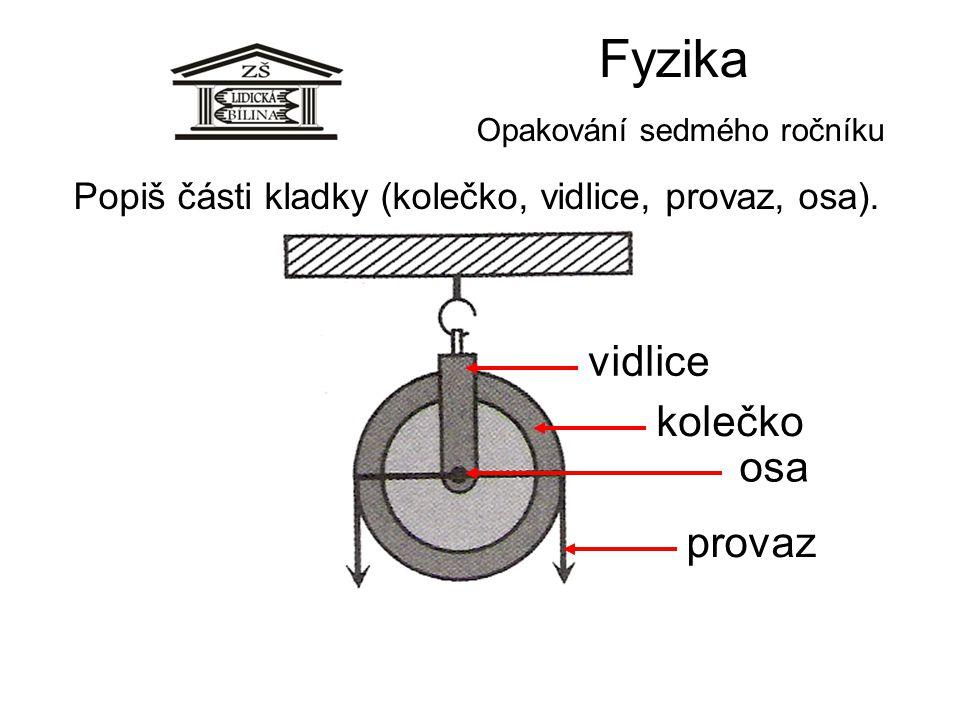 Fyzika Opakování sedmého ročníku Popiš části kladky (kolečko, vidlice, provaz, osa). osa kolečko vidlice provaz