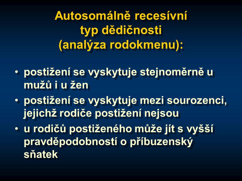 Autosomálně recesívní typ dědičnosti (analýza rodokmenu): postižení se vyskytuje stejnoměrně u mužů i u žen postižení se vyskytuje mezi sourozenci, je