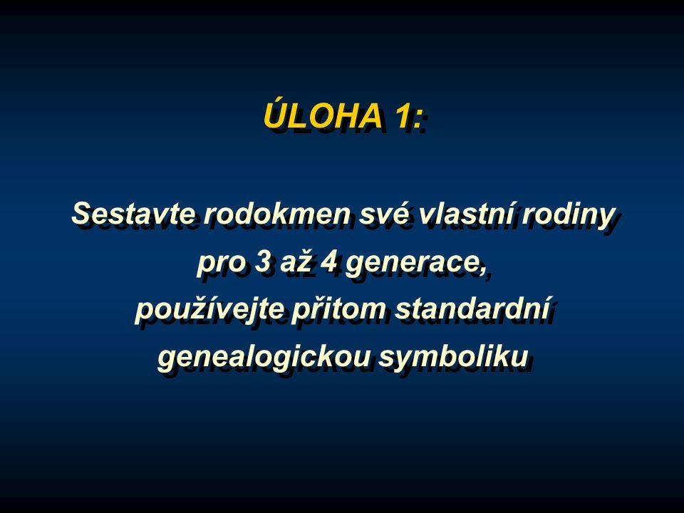 ÚLOHA 1: Sestavte rodokmen své vlastní rodiny pro 3 až 4 generace, používejte přitom standardní genealogickou symboliku