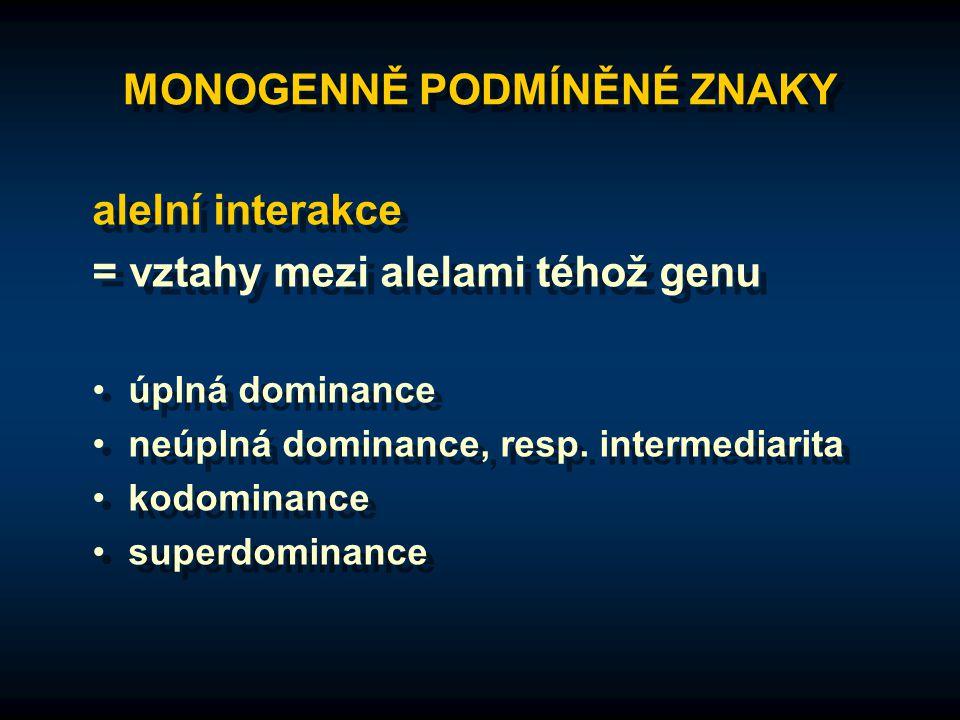 MONOGENNĚ PODMÍNĚNÉ ZNAKY alelní interakce = vztahy mezi alelami téhož genu úplná dominance neúplná dominance, resp. intermediarita kodominance superd