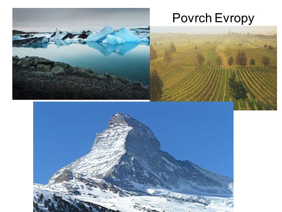 Pohoří Alpský systém pohoří (nejmladší, alpské vrásnění): Pyreneje, Alpy, Apeniny, Karpaty Severoevropská pohoří (starší): Skandinávské pohoří Sopečný reliéf (sopky, lávová pole)
