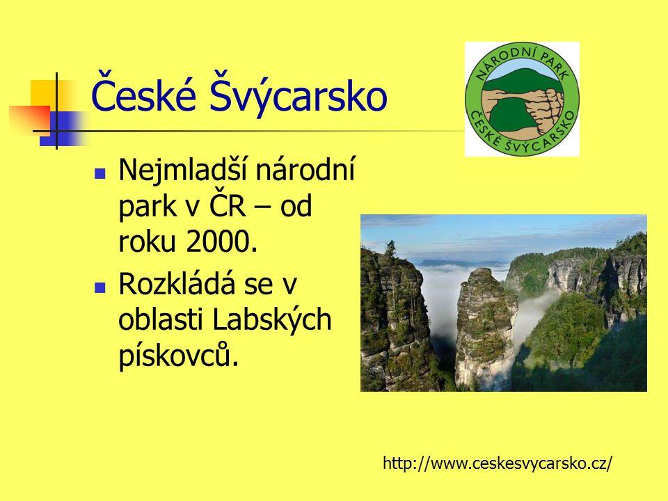České Švýcarsko Nejmladší národní park v ČR – od roku 2000.