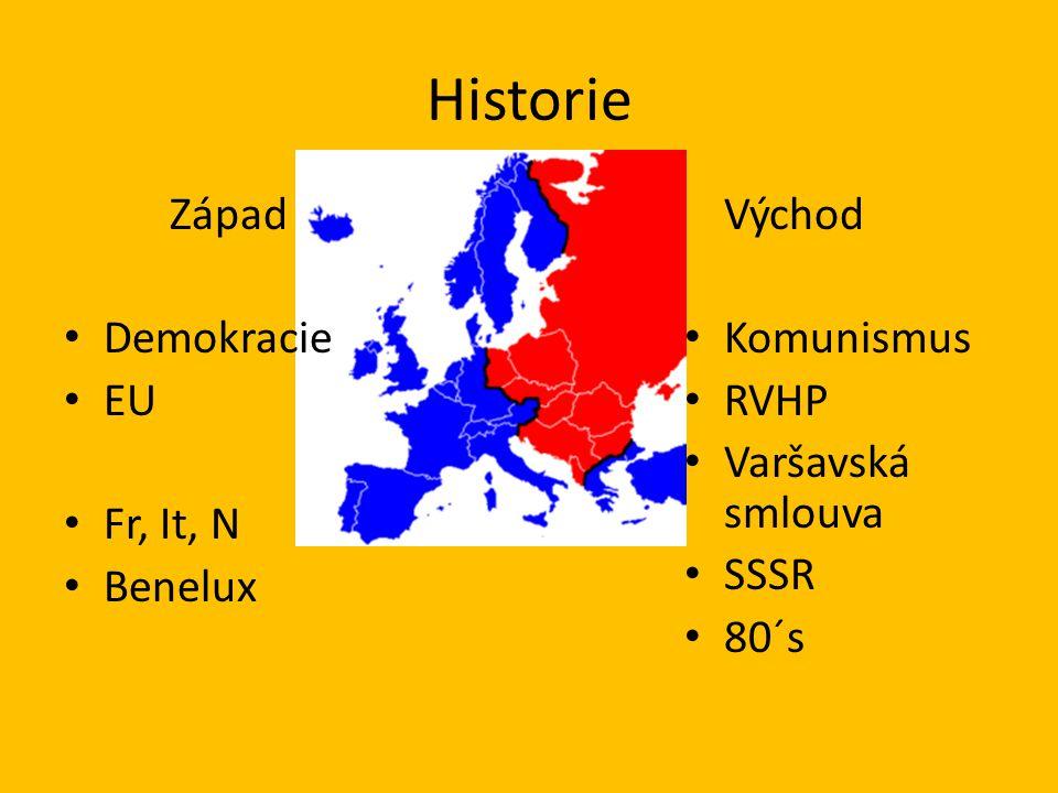 Historie Západ Demokracie EU Fr, It, N Benelux Východ Komunismus RVHP Varšavská smlouva SSSR 80´s