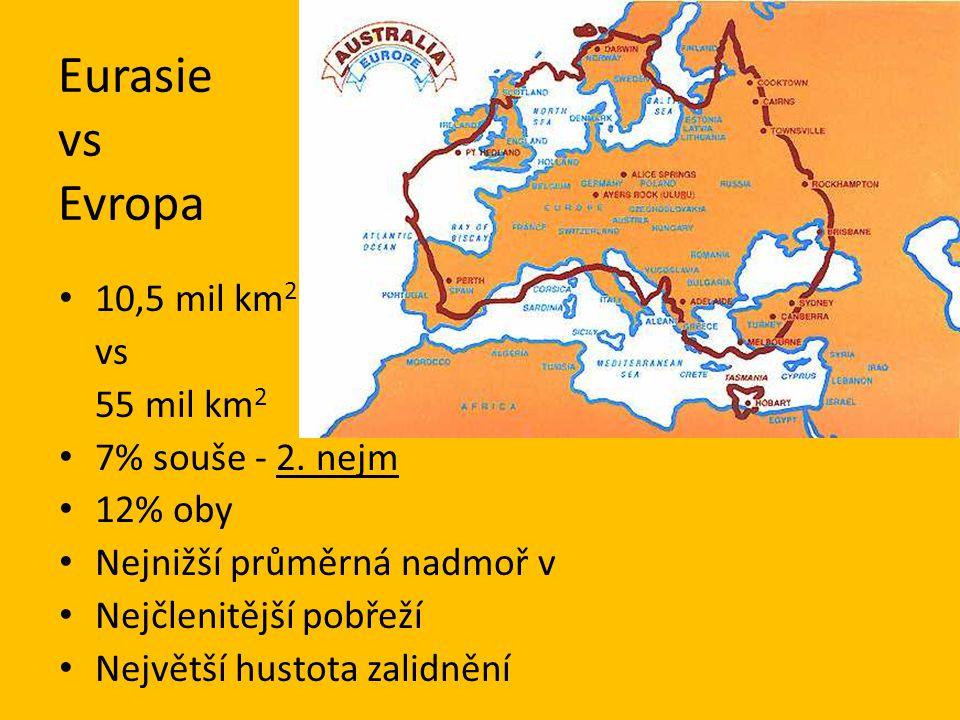 Eurasie vs Evropa 10,5 mil km 2 vs 55 mil km 2 7% souše - 2. nejm 12% oby Nejnižší průměrná nadmoř v Nejčlenitější pobřeží Největší hustota zalidnění