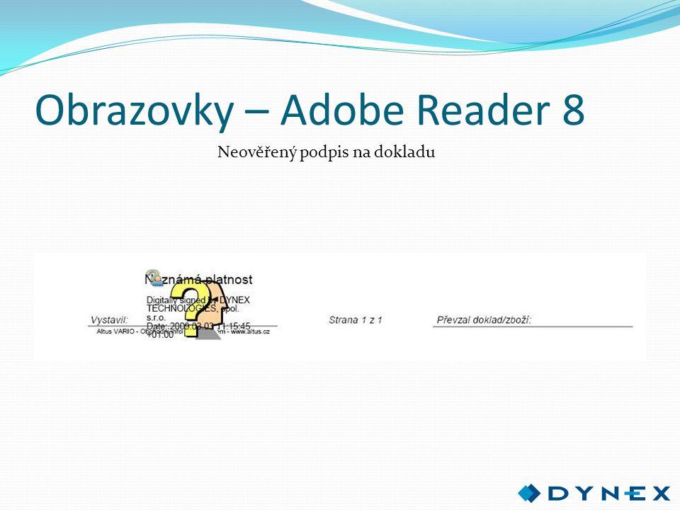 Obrazovky – Adobe Reader 8