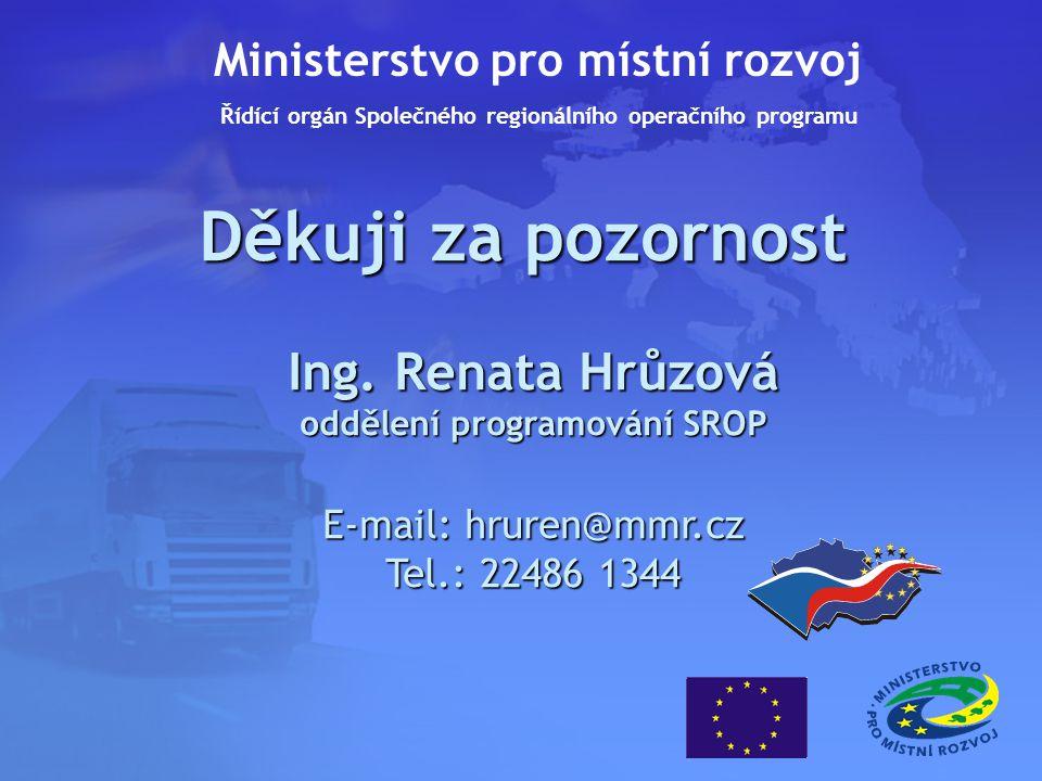 Děkuji za pozornost Ing. Renata Hrůzová oddělení programování SROP E-mail: hruren@mmr.cz Tel.: 22486 1344 Ministerstvo pro místní rozvoj Řídící orgán