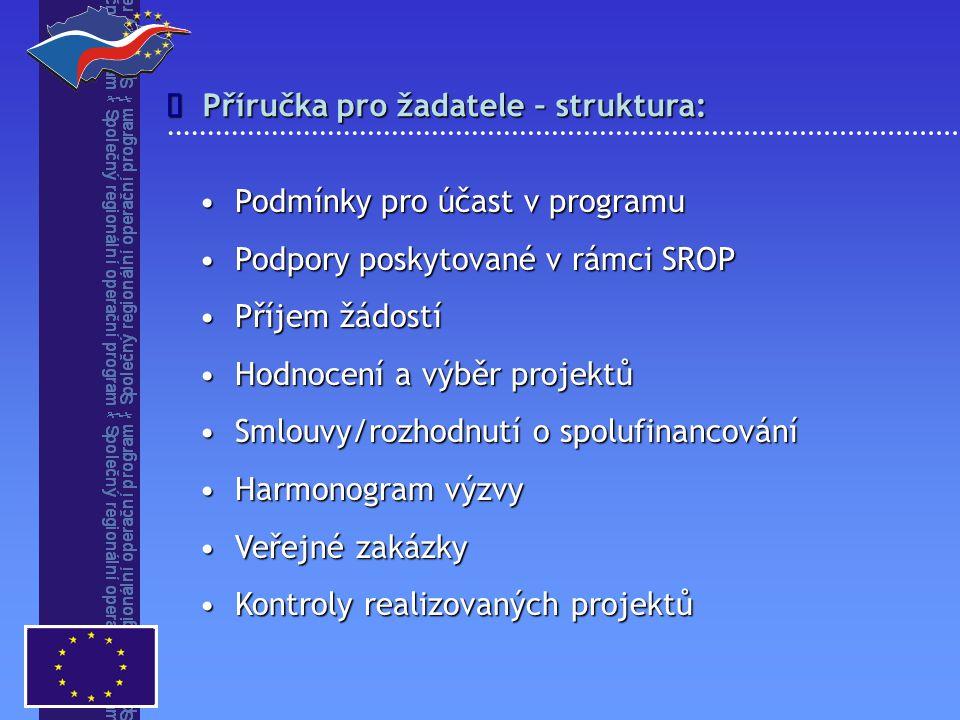 Příručka pro žadatele – struktura:  Podmínky pro účast v programuPodmínky pro účast v programu Podpory poskytované v rámci SROPPodpory poskytované v