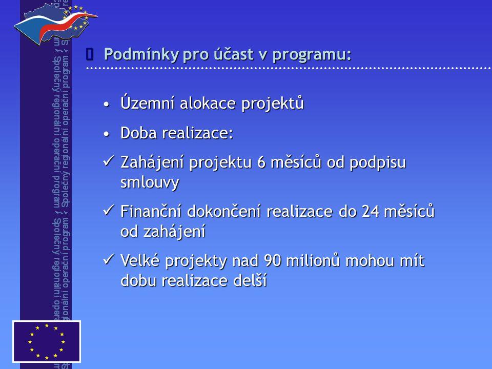 Podmínky pro účast v programu:  Územní alokace projektůÚzemní alokace projektů Doba realizace:Doba realizace: Zahájení projektu 6 měsíců od podpisu s
