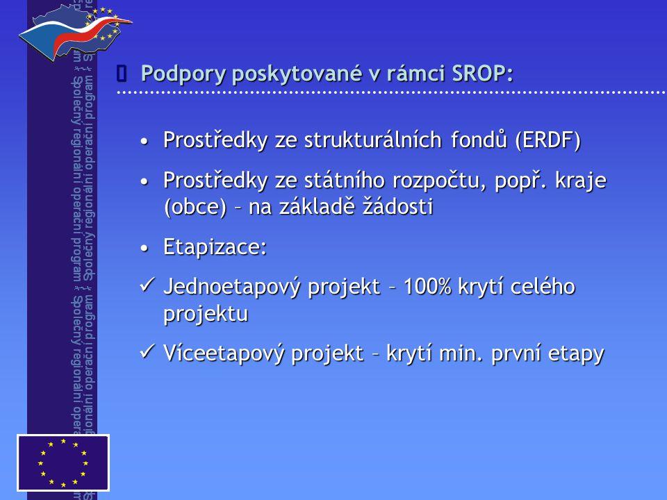 Podpory poskytované v rámci SROP:  Prostředky ze strukturálních fondů (ERDF)Prostředky ze strukturálních fondů (ERDF) Prostředky ze státního rozpočtu