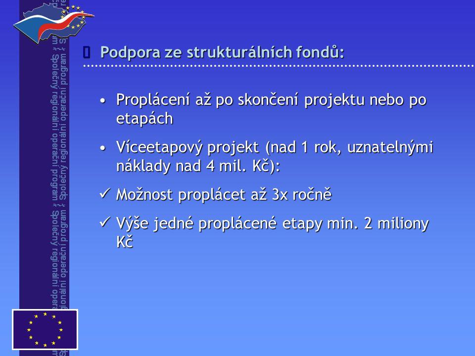 Podpora ze strukturálních fondů:  Proplácení až po skončení projektu nebo po etapáchProplácení až po skončení projektu nebo po etapách Víceetapový pr