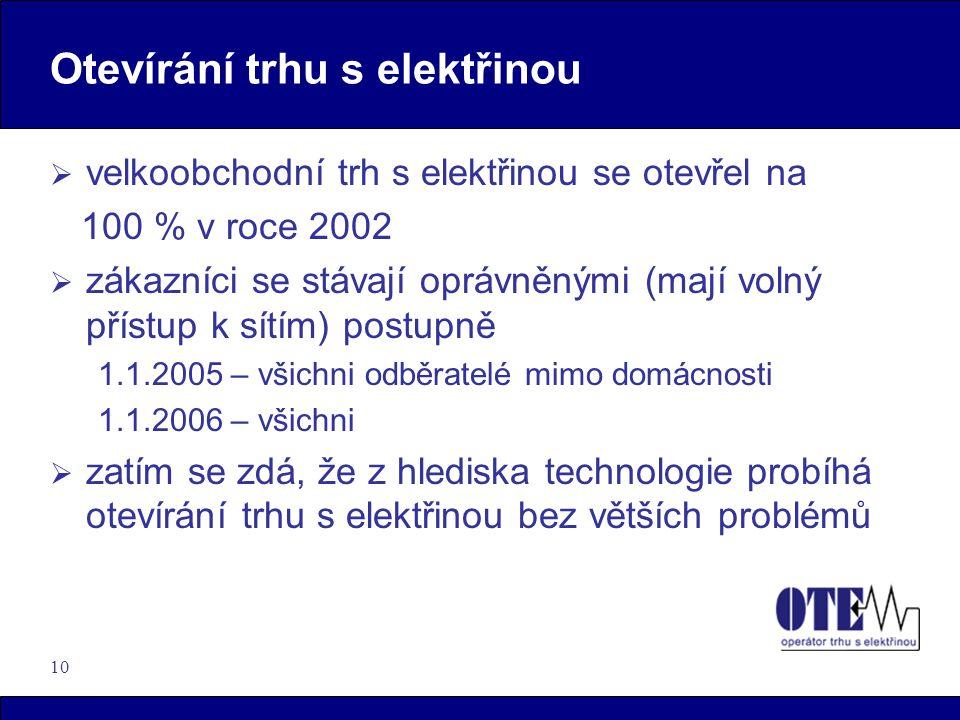 10 Otevírání trhu s elektřinou  velkoobchodní trh s elektřinou se otevřel na 100 % v roce 2002  zákazníci se stávají oprávněnými (mají volný přístup k sítím) postupně 1.1.2005 – všichni odběratelé mimo domácnosti 1.1.2006 – všichni  zatím se zdá, že z hlediska technologie probíhá otevírání trhu s elektřinou bez větších problémů