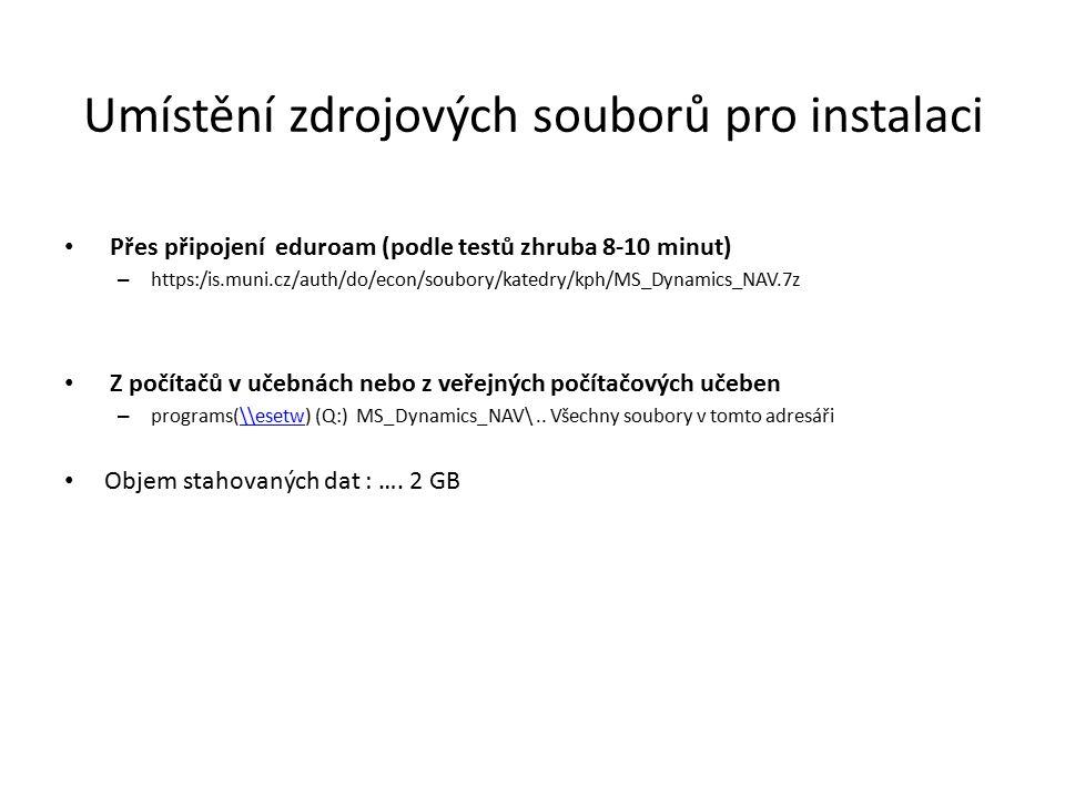 Umístění zdrojových souborů pro instalaci Přes připojení eduroam (podle testů zhruba 8-10 minut) – https:/is.muni.cz/auth/do/econ/soubory/katedry/kph/