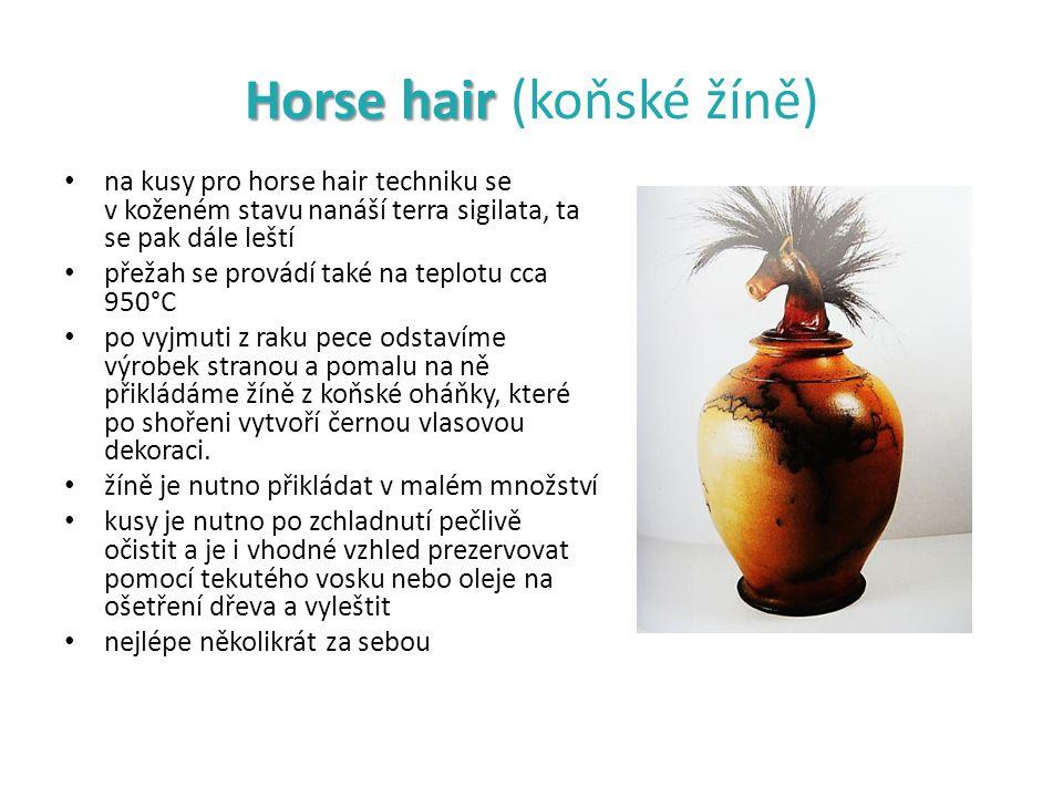 Horse hair Horse hair (koňské žíně) na kusy pro horse hair techniku se v koženém stavu nanáší terra sigilata, ta se pak dále leští přežah se provádí t