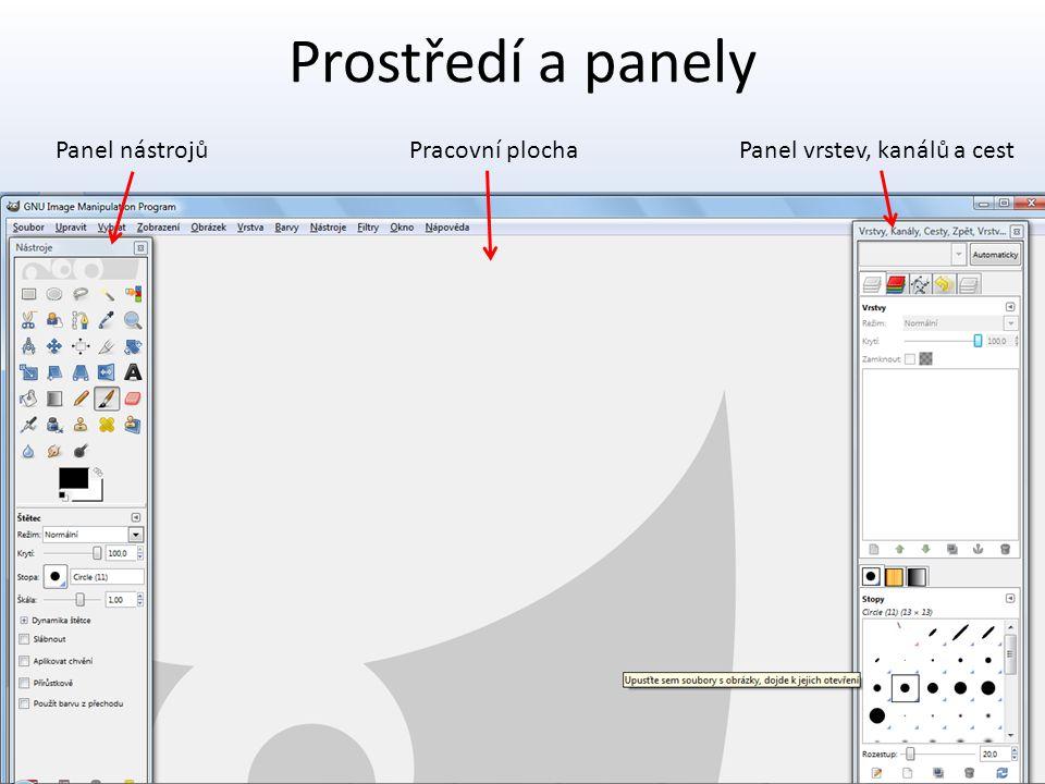 Prostředí a panely Panel nástrojůPanel vrstev, kanálů a cestPracovní plocha